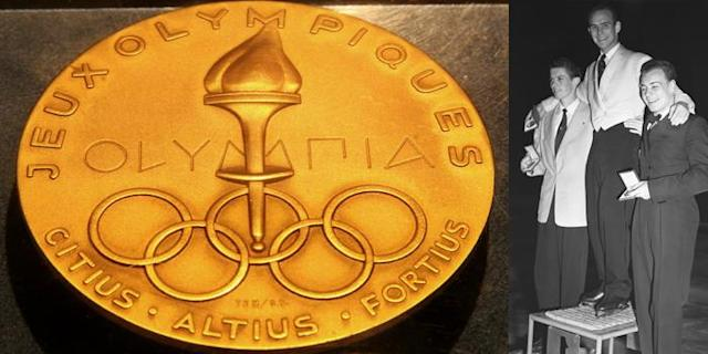 <p>A gold medal from the 1952 Olympics in Oslo, Sweden. It was given to Dick Button for winning the men's singles figure skating event.<br>(AP Photo/Tina Fineberg; Winners of the men's figure skating event–Helmut Seibt Austria, silver; Dick Button USA, gold; James Grogan USA, bronze/photo by Reg Birkett/Keystone/Getty Images) </p>