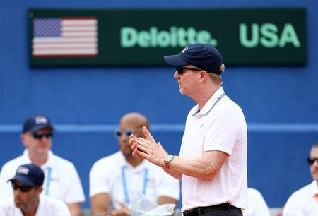 Tennis - Davis Cup - World Group Semi-Final - Croatia v United States - Sportski centar Visnjik, Zadar, Croatia - September 14, 2018 United States captain Jim Courier reacts during the match between Croatia's Borna Coric and Steve Johnson of the United States REUTERS/Antonio Bronic