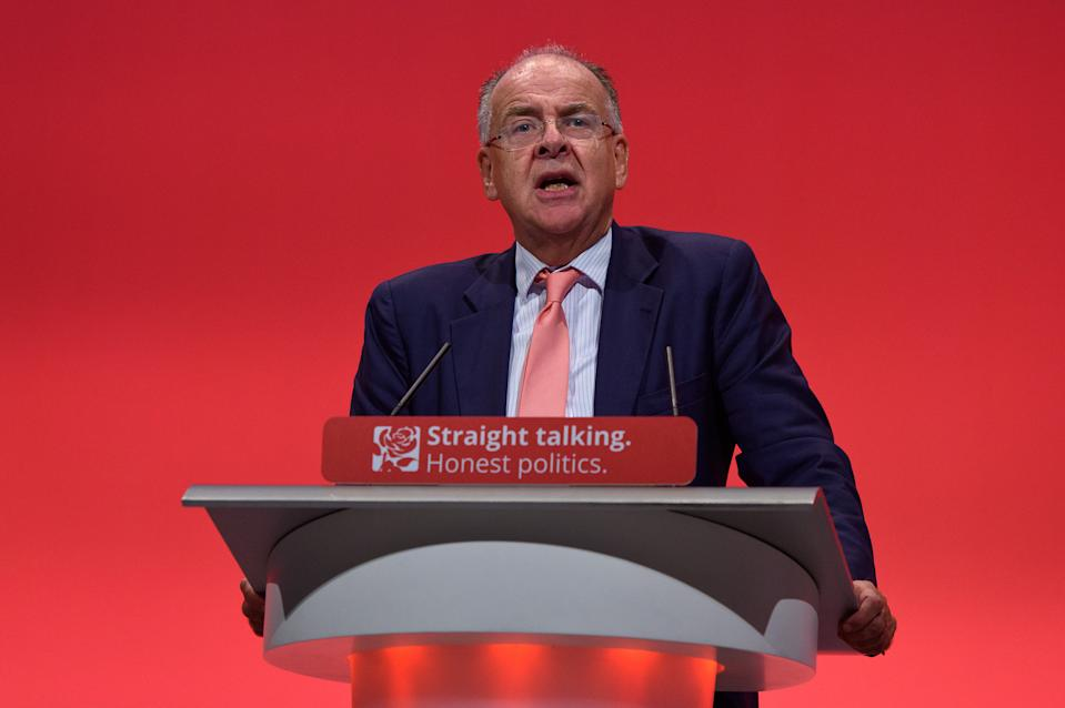 "BRIGHTON, ENGLAND - SEPTEMBER 30:  Lord Falconer Shadow Secretary of State for Justice speaks to delegates during a session titled ""Stronger, Safer Communities"" during the final day of the Labour Party Autumn Conference on September 30, 2015 in Brighton, England. On the final day of the four day annual Labour Party Conference delegates will debate an emergency motion on Syria and discuss matters relating to healthcare and education.  (Photo by Ben Pruchnie/Getty Images)"