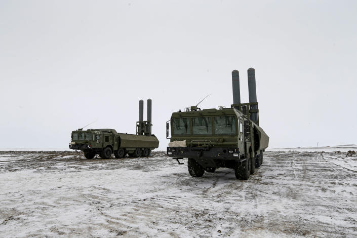 The Bastion anti-ship missile systems take positions on the Alexandra Land island near Nagurskoye, Russia, Monday, May 17, 2021. Bristling with missiles and radar, Russia's northernmost military base projects the country's power and influence across the Arctic from a remote, desolate island amid an intensifying international competition for the region's vast resources. Russia's northernmost military outpost sits on the 80th parallel North, projecting power over wide swathes of Arctic amid an intensifying international rivalry over the polar region's vast resources. (AP Photo/Alexander Zemlianichenko)