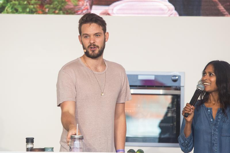 LONDON, ENGLAND - SEPTEMBER 10: John Whaite demonstrates his cooking skills, while interviewed by Hersha Patel on day one of OnBlackheath at Blackheath Common on September 10, 2016 in London, England. (Photo by Lorne Thomson/Redferns)