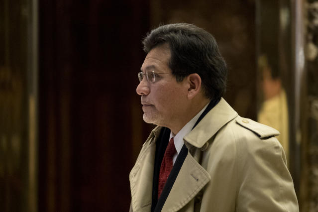 Former U.S. Attorney General Alberto Gonzales exits Trump Tower in New York City in December 2016. (Photo: Drew Angerer/Getty Images)