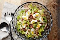 """This salad—inspired by the elements of a Passover Seder plate—is a bright and flavorful mix of romaine, lamb sausage, apples, and walnuts. <a href=""""https://www.epicurious.com/recipes/food/views/seder-plate-salad?mbid=synd_yahoo_rss"""" rel=""""nofollow noopener"""" target=""""_blank"""" data-ylk=""""slk:See recipe."""" class=""""link rapid-noclick-resp"""">See recipe.</a>"""