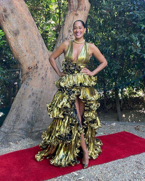 "<p>Miss Ross came to serve us maximum glamour and we are grateful for it. She showed up for the ceremony in this stunning gold Alexandre Vauthier gown with a plunging neckline and enough ruffles to make it feel like a party was going on.</p><p><a href=""https://www.instagram.com/p/CFYKVjulcyr/?utm_source=ig_embed"" rel=""nofollow noopener"" target=""_blank"" data-ylk=""slk:See the original post on Instagram"" class=""link rapid-noclick-resp"">See the original post on Instagram</a></p>"