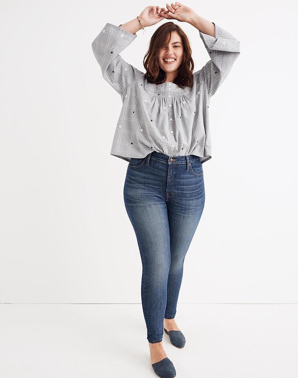 <p>Available in sizes 33-37, the <span>Madewell High-Rise Skinny Jeans: Adjustable Edition</span> ($128) come equipped with a handy adjustable waistband that lets you customize the fit to your body - as it should be!</p>