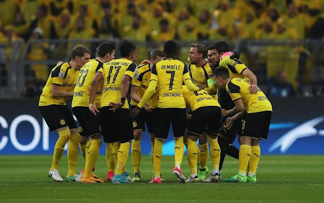 <span>Dortmund's players before the match kicks off</span> <span>Credit: Getty Images </span>