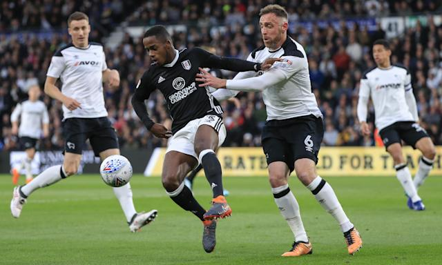 Derby's Richard Keogh takes a hands-on approach with Ryan Sessegnon of Fulham during the Championship semi-final first leg.