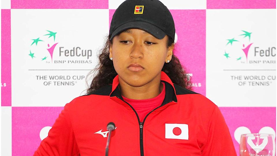 Naomi Osaka (pictured) during a press conference.