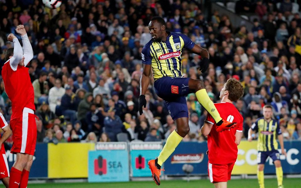 Usain Bolt playing football in Australia for Central Coast Stadium - Reuters