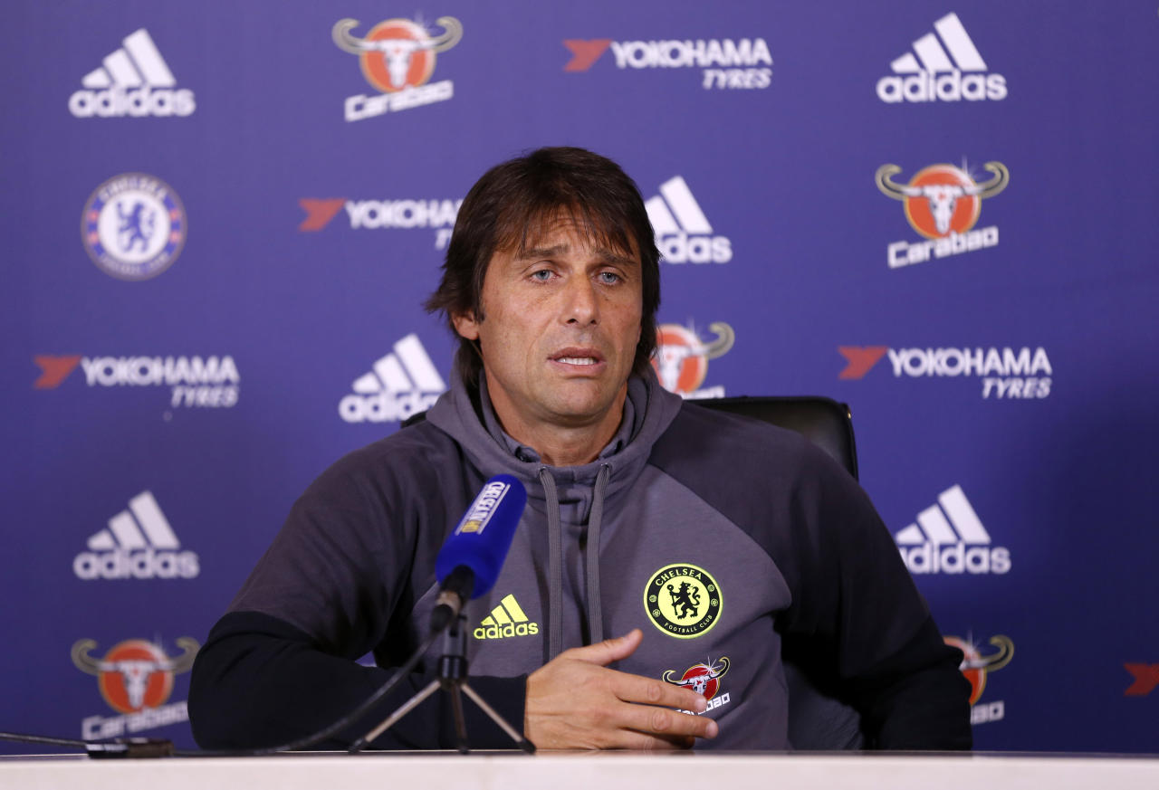 Britain Football Soccer - Chelsea - Antonio Conte Press Conference - Chelsea Training Ground - 21/10/16 Chelsea manager Antonio Conte during the press conference Action Images via Reuters / Matthew Childs Livepic EDITORIAL USE ONLY.