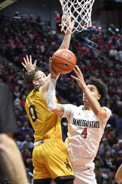 San Diego State guard Trey Pulliam (4) shoots past Wyoming guard Jake Hendricks (0) during the first half of an NCAA college basketball game Tuesday, Jan. 21, 2020, in San Diego. (AP Photo/Denis Poroy)