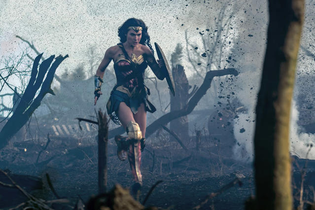 <p>Wonder Woman races across the battlefield, ready to storm the German trenches. (Photo: Warner Bros.)<br> </p>  <p>A Moment of Reflection</p><p> Steve tries to convince Diana to listen to his plan. (Photo: Warner Bros.)<br> </p>  <p>Lady in Blue</p><p> Diana certainly knows how to make an entrance to a gala. (Photo: Warner Bros.)<br> </p>  <p>Dance of Doom</p><p> Diana has her sword handy as she looks for an opportunity to strike down the general. (Photo: Warner Bros.)<br> </p>  <p>Reinforcements</p><p> Chief, Charlie, Sameer, and Steve follow Wonder Woman into battle. (Photo: Warner Bros.)<br> </p>  <p>The Team</p><p> Sameer, Steve, Wonder Woman, Chief, and Charlie strike a post-battle pose. The resulting photo will be unearthed decades later by Lex Luthor (in <em>Batman v Superman</em>) and eventually returned to Diana by Bruce Wayne. (Photo: Warner Bros.)<br> </p>
