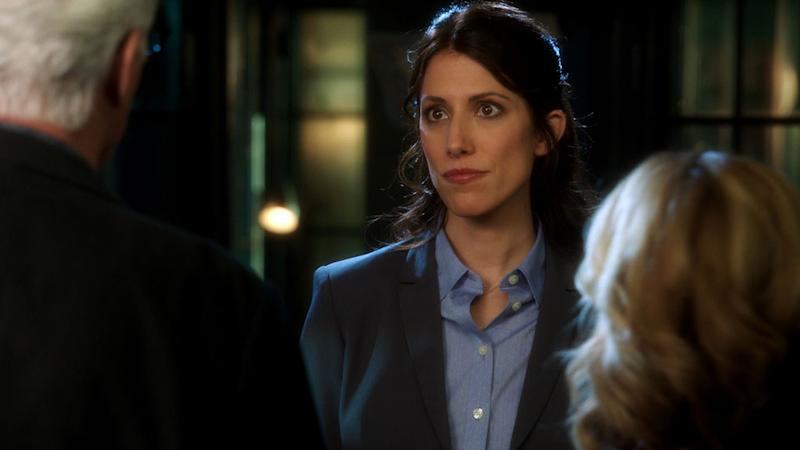 "Lawyer Jill McDermott (Kate Danson) lays down the law as she gives D.B. Russell (Ted Danson) specifics as to how her client should be handled, on ""CSI: Crime Scene Investigation."""