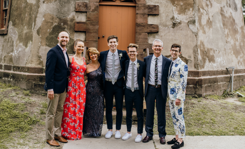 The Beischel Family: Brandon Casey (Beth's husband), Beth, me, Hans, Luke, Joe (my husband) and Will at Hans and Luke's wedding (Courtesy of Bird and Rose Photography)