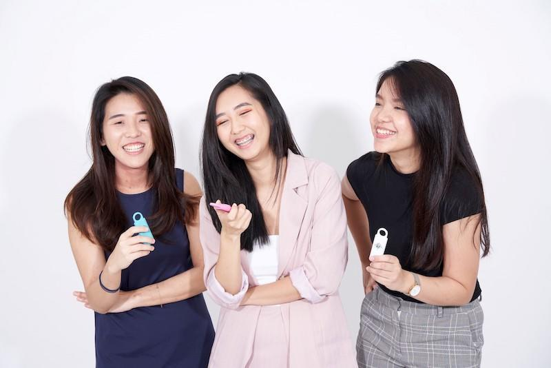 From left: Serene Ho, Peggy Neoh and Kimberly Voon created the personal safety alarm device as a response to the rising cases of violence against women. — Picture courtesy of Pocket Angel
