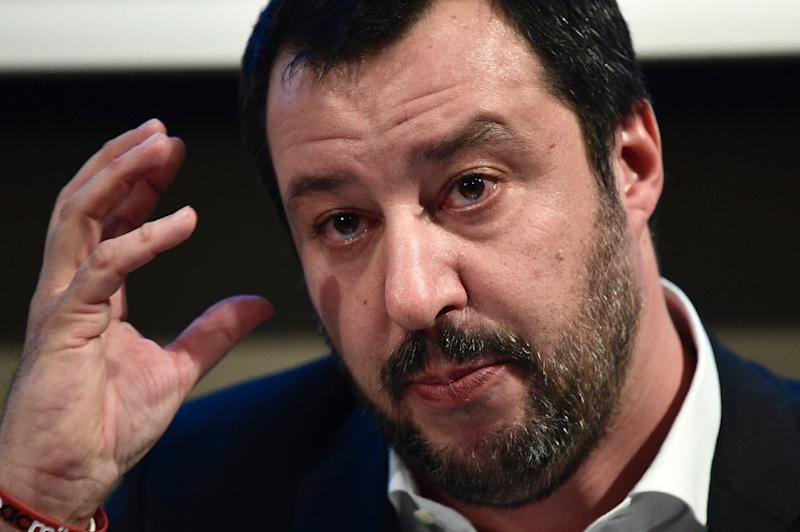 "Italy's The League party leader Matteo Salvini, pictured in January 2018, rails against what he calls a ""migrant invasion"""