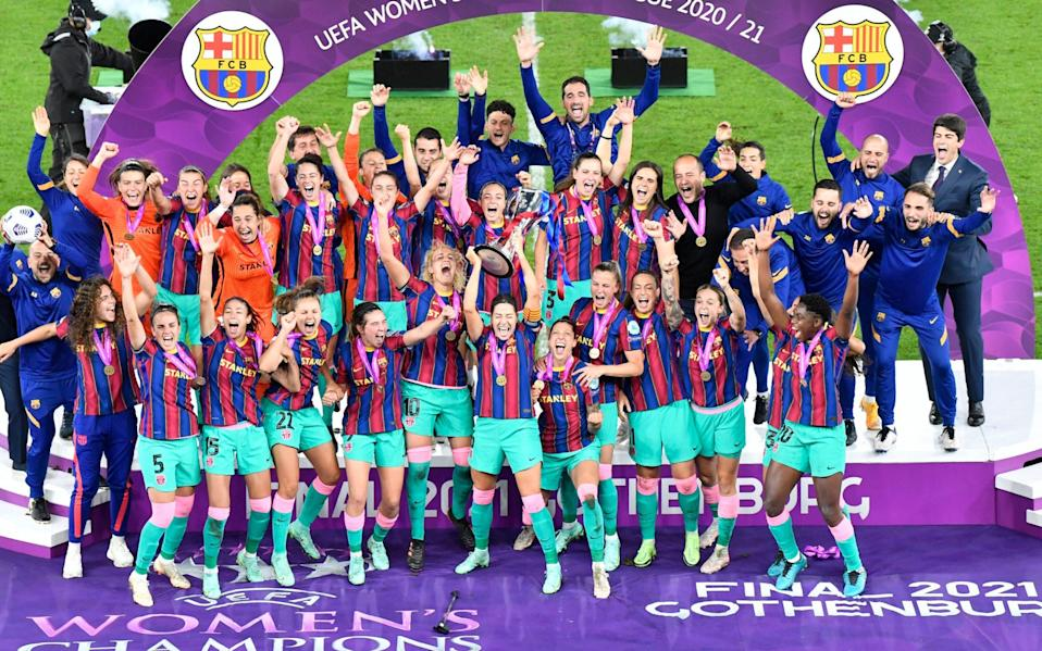 Barcelona celebrate their first-ever Champions League trophy - AP