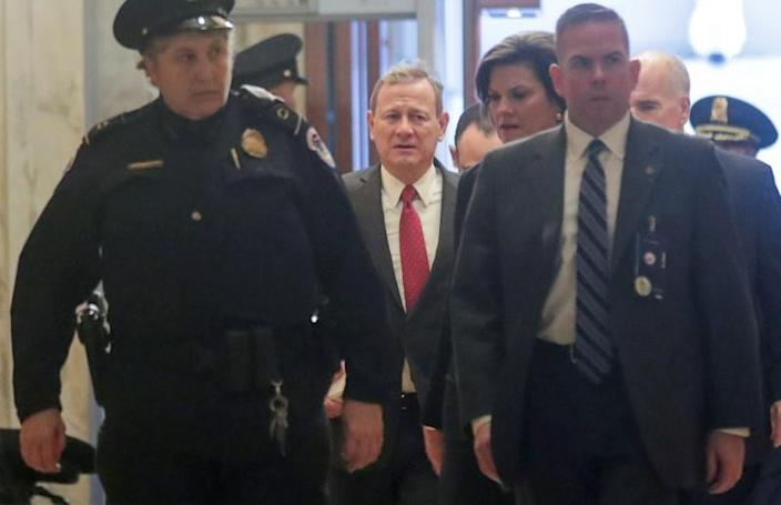 U.S. Chief Justice Roberts arrives for procedural start of Senate impeachment trial of President Trump at the U.S. Capitol in Washington