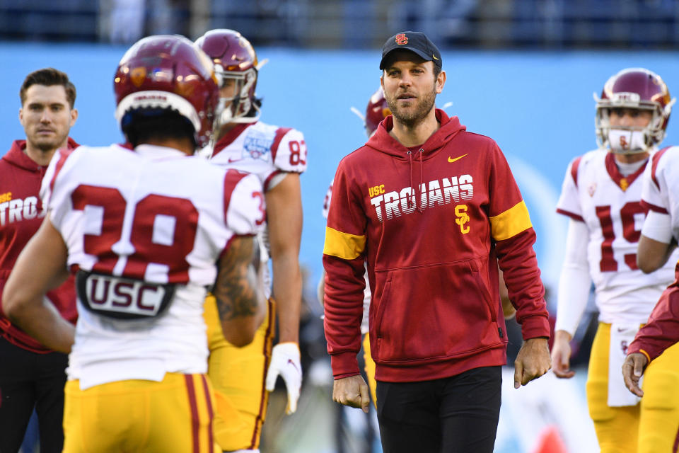 USC Trojans offensive coordinator Graham Harrell looks on before the San Diego County Credit Union Holiday Bowl on Dec.27, 2019. (Brian Rothmuller/Icon Sportswire via Getty Images)