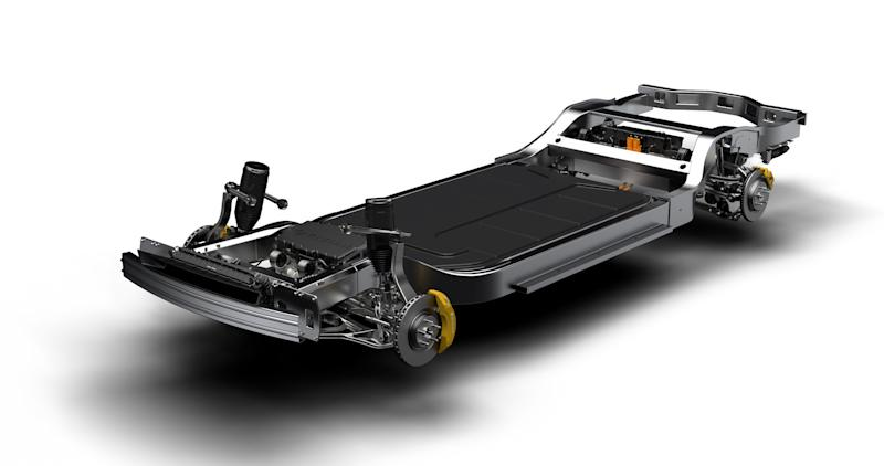 "The Rivian ""skateboard"" vehicle platform, a chassis unit that includes electric motors, batteries, vehicle suspension components, and brakes"