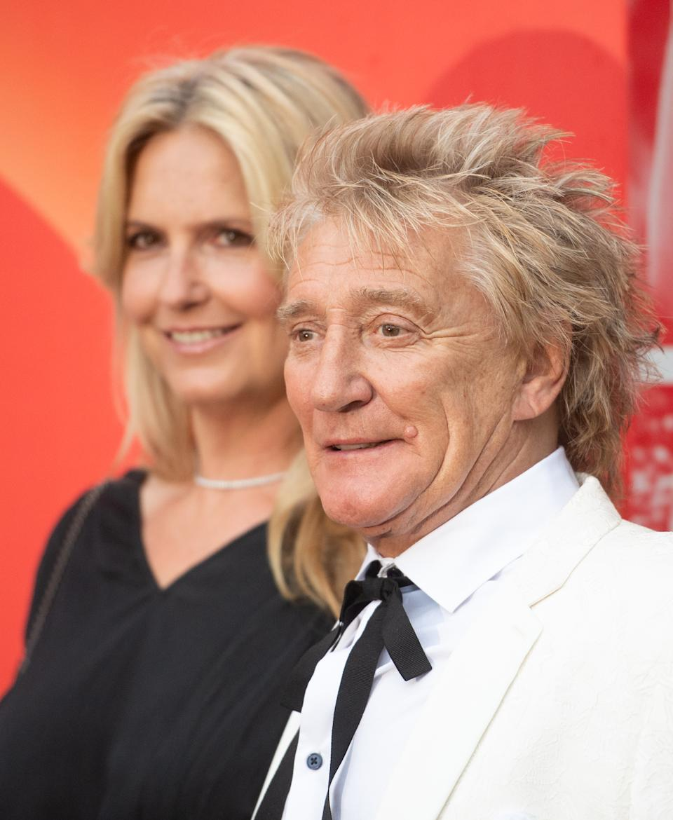 LONDON, ENGLAND - SEPTEMBER 14: Penny Lancaster and Rod Stewart attend the Sun's Who Cares Wins Awards 2021 at The Roundhouse on September 14, 2021 in London, England. (Photo by Samir Hussein/WireImage)