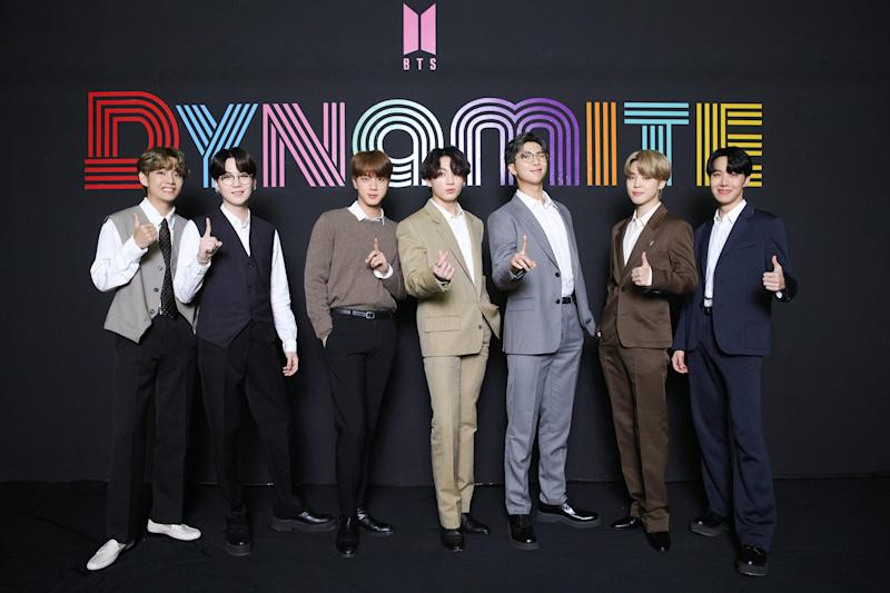 "BTS participate in ""Dynamite"" online global media day."