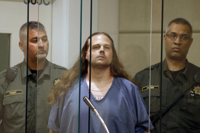 <p>Jeremy Joseph Christian is arraigned in Multnomah County Circuit Court in Portland, Ore., Tuesday, May 30, 2017. (Beth Nakamura/The Oregonian via AP, Pool) </p>