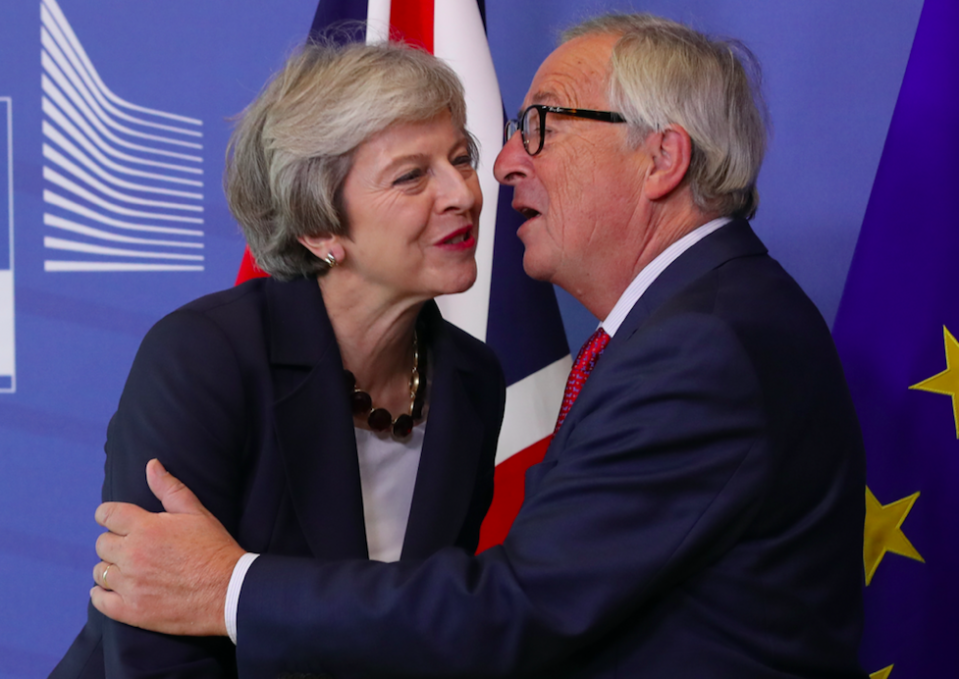 <em>Theresa May, pictured with European Commission president Jean-Claude Juncker, indicated she is ready to consider extending Britain's transition out of the EU for a further year (Getty)</em>