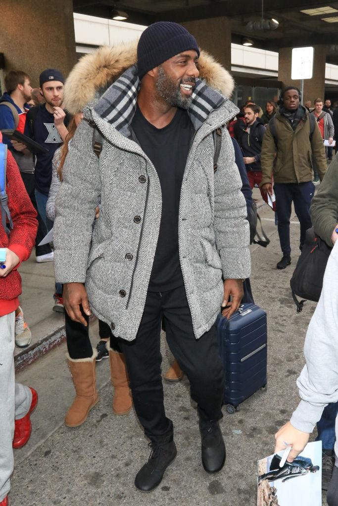 <p>Idris Elba is spotted on Jan. 19, 2018, in Park City, Utah, wearing a gray coat. (Photo: gotpap/Bauer-Griffin/GC Images) </p>