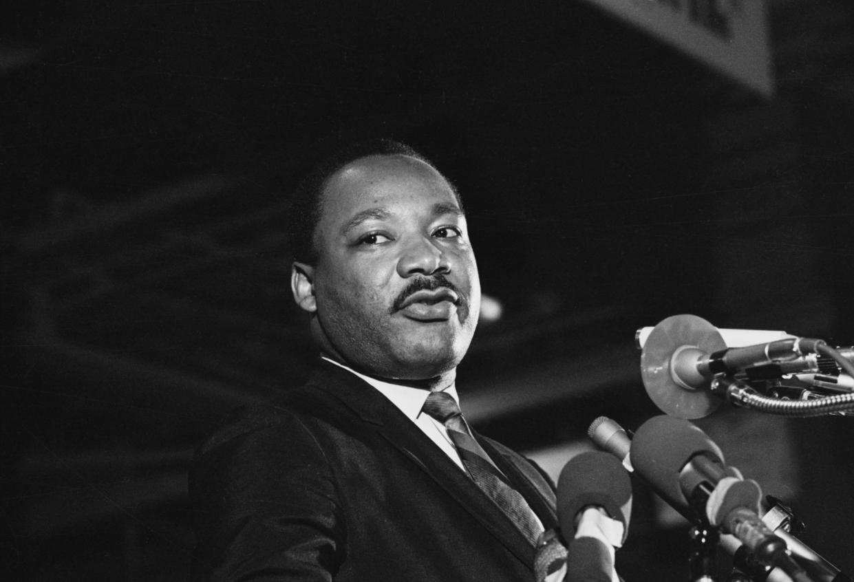 King speaks at a rally on April 3, 1968, in Memphis. (Photo: Bettmann/Getty Images)