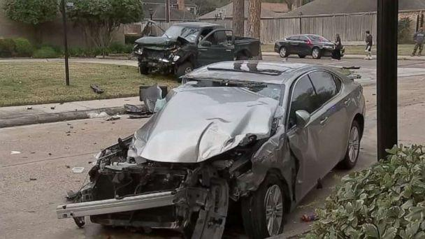 PHOTO: A 14-year-old Texas boy has been arrested after driving a stolen truck with 4 other juveniles in it into two other vehicles on Monday, Feb. 9, 2020. (ABC News/KTRK)