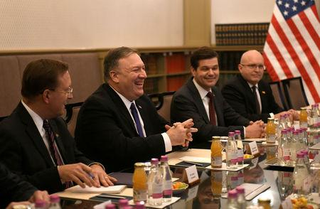 U.S. Secretary of State Mike Pompeo attends a plenary session in Budapest