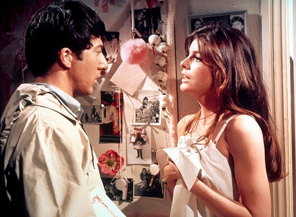 """<p>Based on the book of the same name, 1967's <strong>The Graduate </strong>follows Benjamin Braddock (<a class=""""link rapid-noclick-resp"""" href=""""https://www.popsugar.com/Dustin-Hoffman"""" rel=""""nofollow noopener"""" target=""""_blank"""" data-ylk=""""slk:Dustin Hoffman"""">Dustin Hoffman</a>), a recent college grad who is seduced by an older woman, Mrs. Robinson (Anne Bancroft). However, during the course of their love affair, Benjamin falls in love with Mrs. Robinson's daughter, Elaine (Katherine Ross).</p> <p>Watch <a href=""""https://play.hbomax.com/page/urn:hbo:page:GYAnOvgIpecPCwgEAAAAF:type:feature?utm_id=sa%7c71700000067030777%7c58700005868654303%7cp53631644808&amp;gclid=CjwKCAiAmrOBBhA0EiwArn3mfDwERICCLznOttfdwFLAddwm2ADMxJQCovU1l8e46AhITtkYXJsfLxoC2OUQAvD_BwE&amp;gclsrc=aw.ds"""" class=""""link rapid-noclick-resp"""" rel=""""nofollow noopener"""" target=""""_blank"""" data-ylk=""""slk:The Graduate""""><strong>The Graduate</strong></a> on HBO Max now.</p>"""