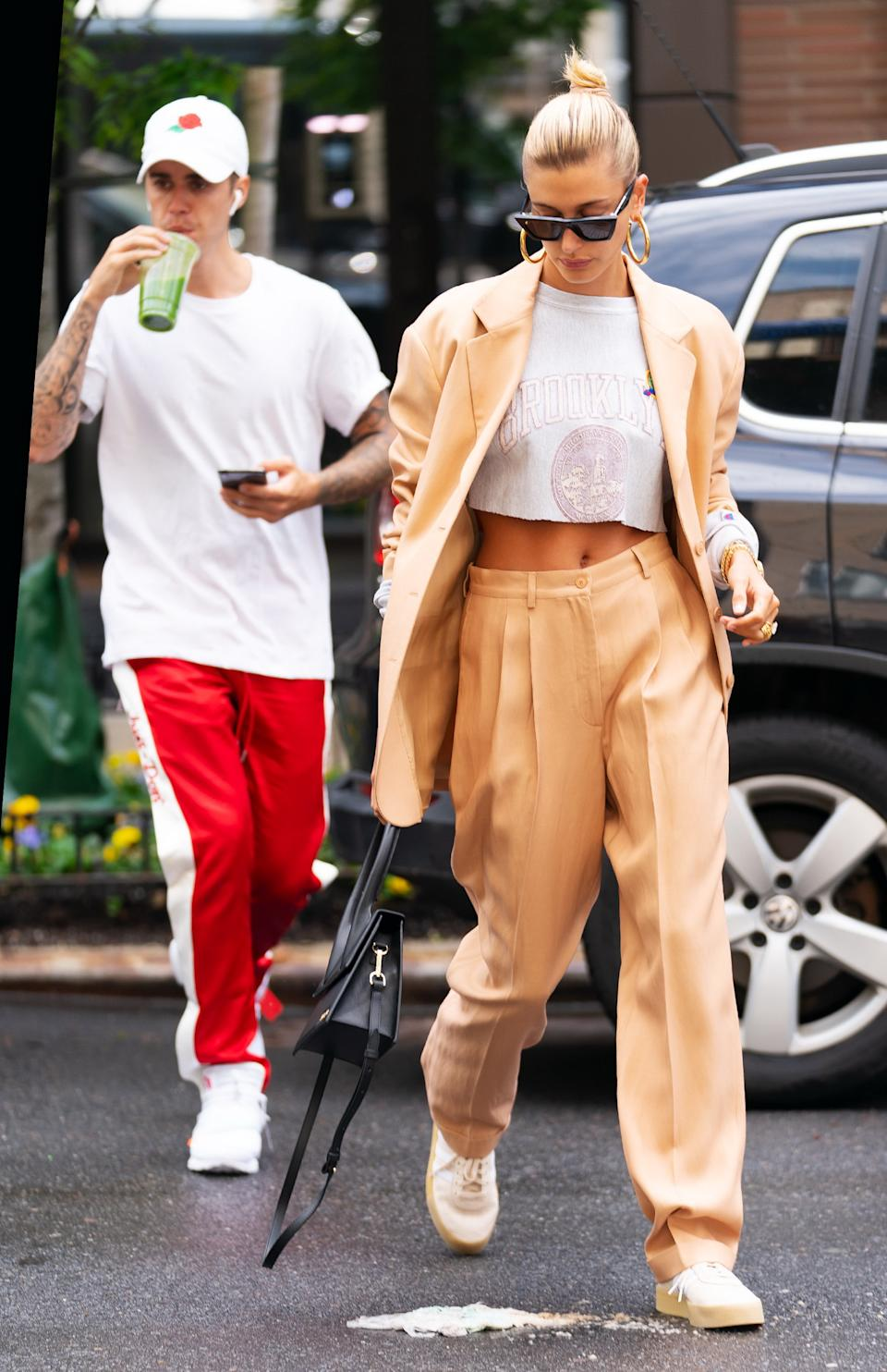 Justin Bieber sips on green juice when out and about with wife Hailey Bieber on 4 May 2019 in New York City. [Photo: Getty]
