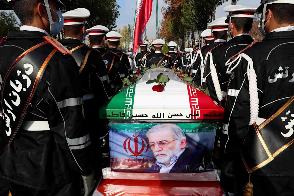 Members of Iranian forces carry the coffin of Iranian nuclear scientist Mohsen Fakhrizadeh during a funeral ceremony in Tehran, Iran, on November 30, 2020. / Credit: WANA NEWS AGENCY via REUTERS