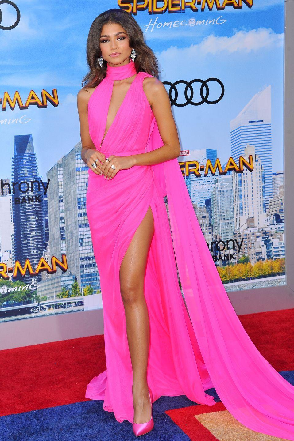 <p>Ralph & Russo also dressed her in this Greek goddess style hot-pink gown for the <em>Spiderman: Homecoming</em> world premiere.</p>