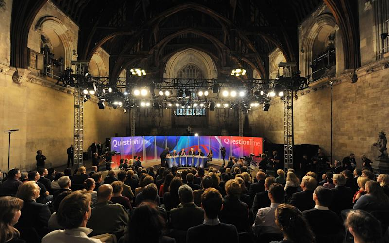 <strong>A photo taken at a special edition of Question Time to mark the programme's 40th anniversary&nbsp;</strong> (Photo: PA Wire/PA Images)