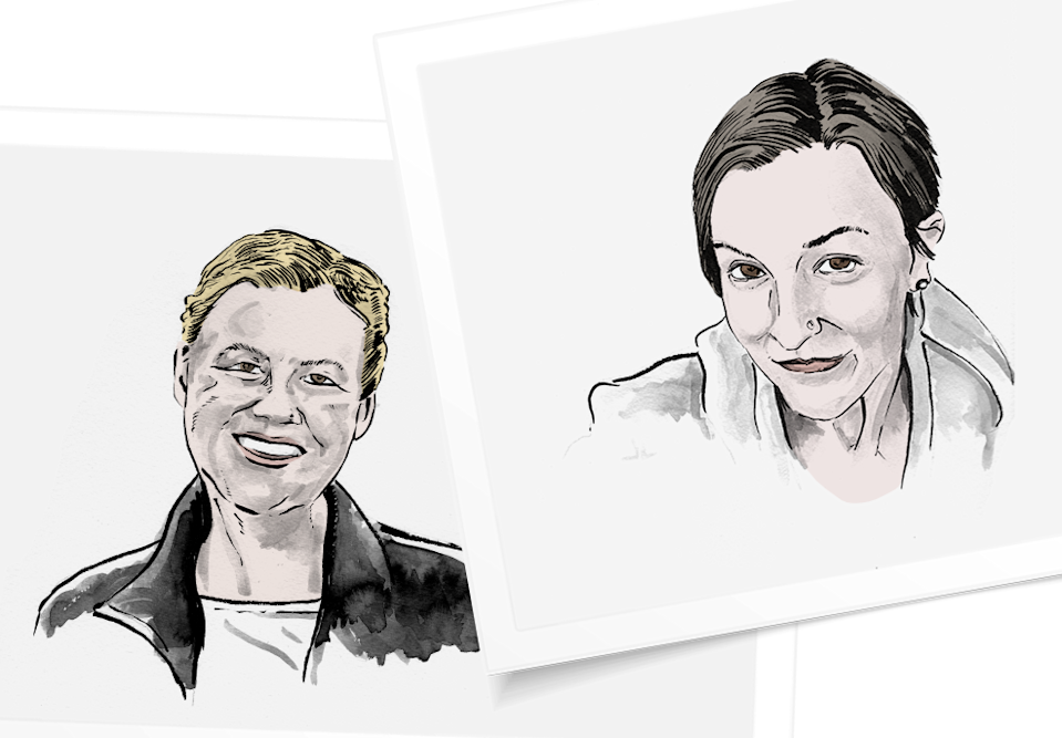 Andrea Kelsall, left, and Tiffany Ostman, also opted to explant. (Illustrations by Jonathan Crow & Design by Quinn Lemmers for Yahoo Lifestyle)