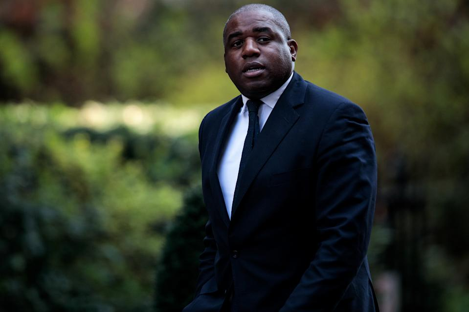 LONDON, ENGLAND - APRIL 01: Labour politician David Lammy arrives at Number 10 Downing Street on April 1, 2019 in London, England. British Prime Minister Theresa May hosts summit on knife crime in Downing Street with community leaders, politicians and senior officials today. (Photo by Jack Taylor/Getty Images)