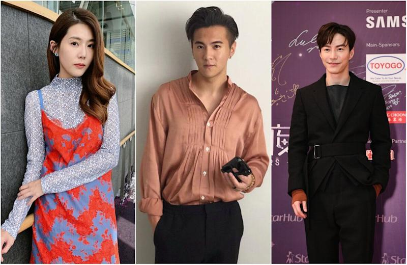 In a leaked private Instagram conversation, Mediacorp actors Carrie Wong and Ian Fang criticised Lawrence Wong (right) for replacing the late Aloysius Pang's role in a drama. (PHOTOS: Carrie Wong and Ian Fang/Instagram, Starhub)