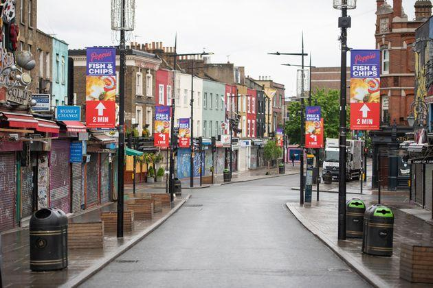 A general view of a deserted Camden High Street in April.