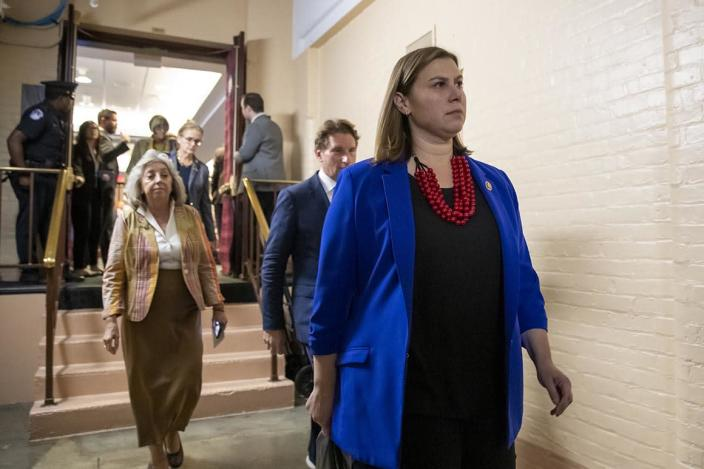Rep. Elissa Slotkin leaves a House Democratic Caucus meeting Tuesday.