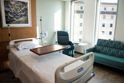 St. Joseph's Hospital's new six-story tower includes 90 private patient rooms on its three top floors.