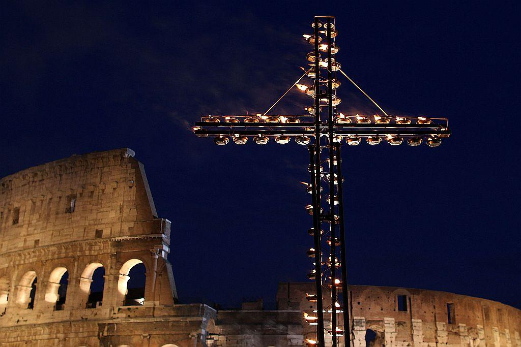 A view of the Colosseum during the Way Of The Cross procession held by Pope Benedict XVI on Good Friday in Rome, Italy. The traditional Catholic procession on Good Friday recalls the crucifixion of Jesus Christ.