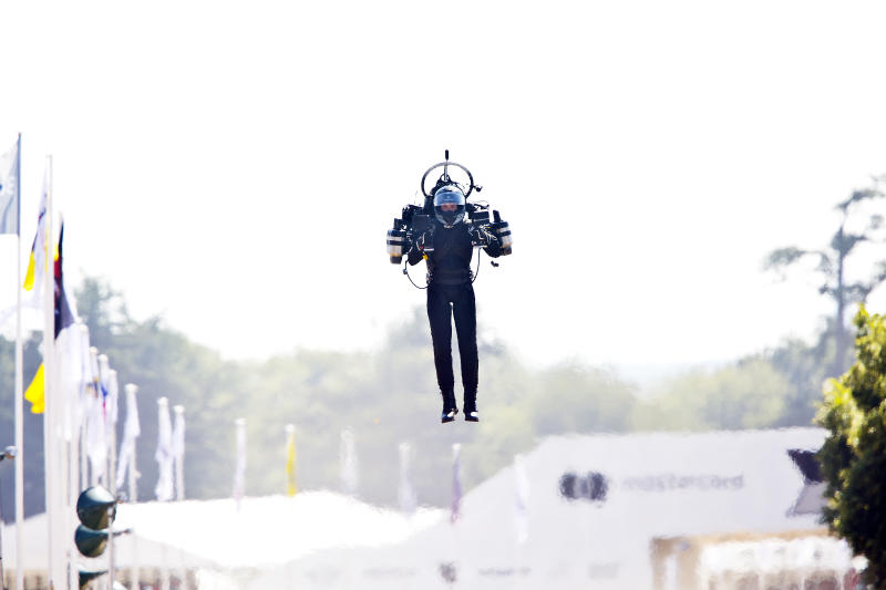 CHICHESTER, ENGLAND - 14th July: David Mayman, (Company Founder of 'Jetpack Aviation in California), flies up the Goodwood Hill displaying his JB11 JetPack at Goodwood on July 14, 2018 in Chichester, England. (Photo by Michael Cole/Corbis via Getty Images)
