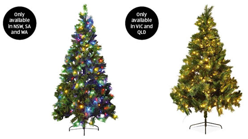 The tree comes in two slightly different versions which are available in different states. Photo: Aldi.