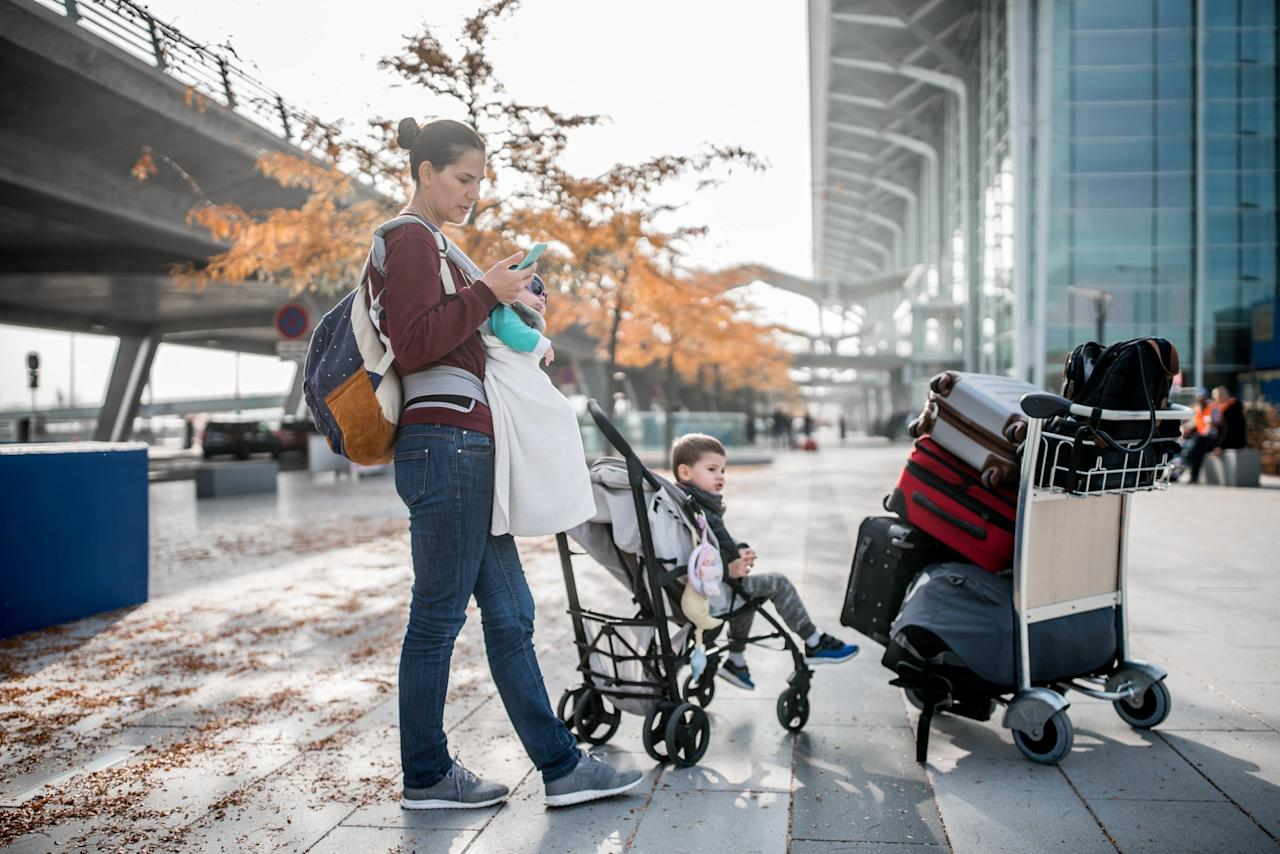 """<p>As I was saying, you need a ride so you can get dropped right at the curb at a ticket counter for your airline. Your carrying-on days are over with a baby, and you'll have at least a car seat, <a href=""""https://www.popsugar.com/family/Best-Travel-Strollers-2019-45633893"""" class=""""ga-track"""" data-ga-category=""""Related"""" data-ga-label=""""https://www.popsugar.com/family/Best-Travel-Strollers-2019-45633893"""" data-ga-action=""""In-Line Links"""">travel stroller</a>, and a bag to check (unless you are lucky enough to have all that stuff at your destination, in which case, you are killing it. I need your tips). When I'm flying with my husband, I always swear by gate-checking the car seat and stroller, but in this case, you're going to want to get rid of that stuff as soon as you can, at the most convenient place, and that's the curb.</p>"""
