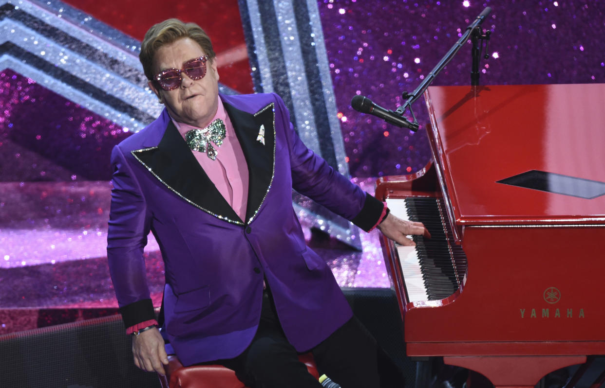 Elton John performed on the online benefit concert.