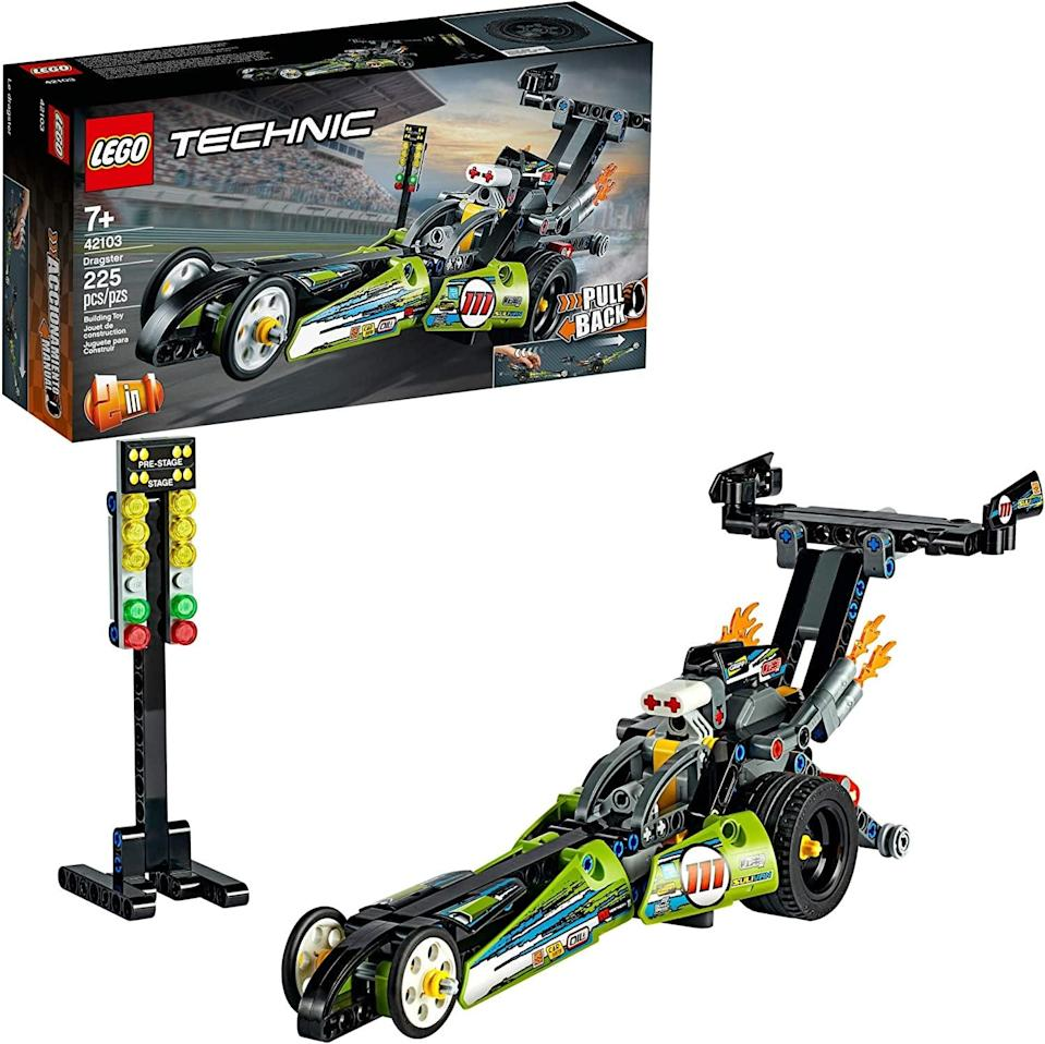 <p>The <span>Lego Technic Dragster</span> ($18) has 225 pieces and is best suited for kids ages 7 and up.</p>