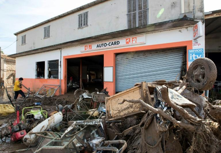 This garage in Sant Llorenc des Cardassar on Majorca was one of the many businesses affected